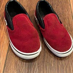 Red suede boys slip on vans